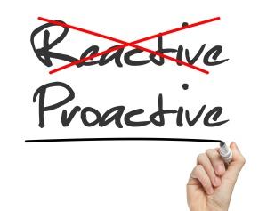 Proactive and Reactive handwritten on whiteboard isolated